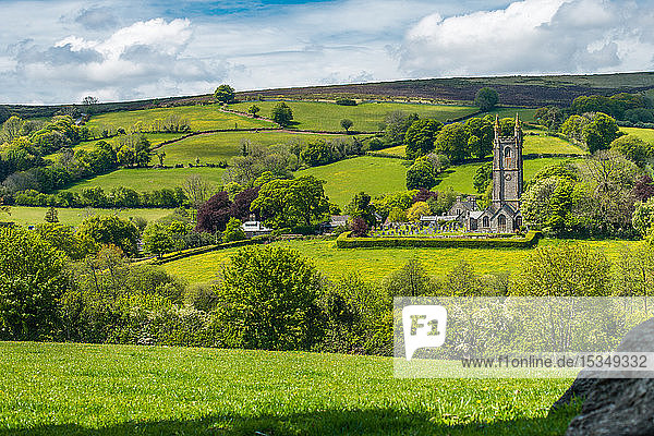 St. Pancras Church  Widecombe in the Moor village  in the Dartmoor National Park  Devon  England  United Kingdom  Europe
