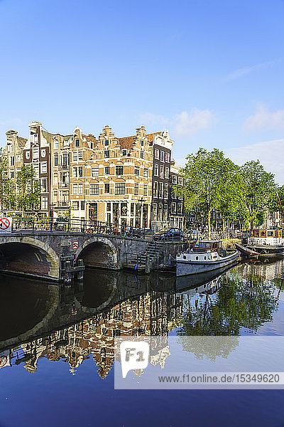 Old gabled buildings on Brouwersgracht Canal  Amsterdam  North Holland  The Netherlands  Europe