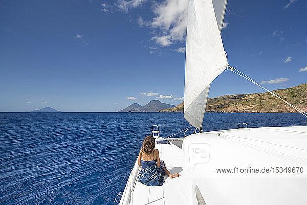 Sailing in the Mediterranean sea  Lipari  Aeolian Islands  UNESCO World Heritage Site  Sicily  Italy  Mediterranean  Europe