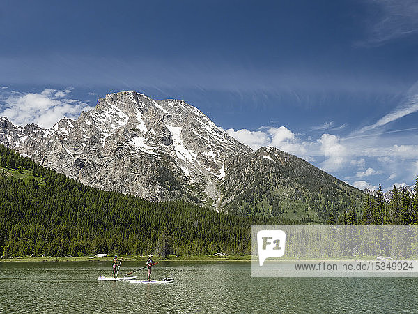 Stand up paddle boarders on String Lake  Grand Teton National Park  Wyoming  United States of America  North America