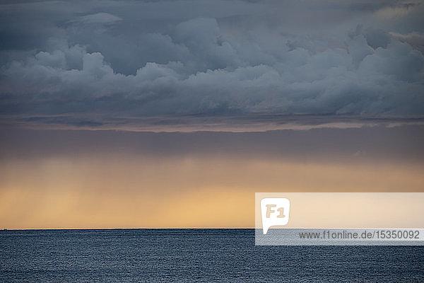 Sunset over Norwegian fjord  Senja  Norway  Scandinavia  Europe