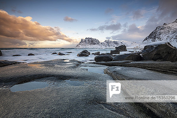Rock formations at Uttakleiv Beach  Vestvagoy  Lofoten Islands  Nordland  Arctic  Norway  Europe