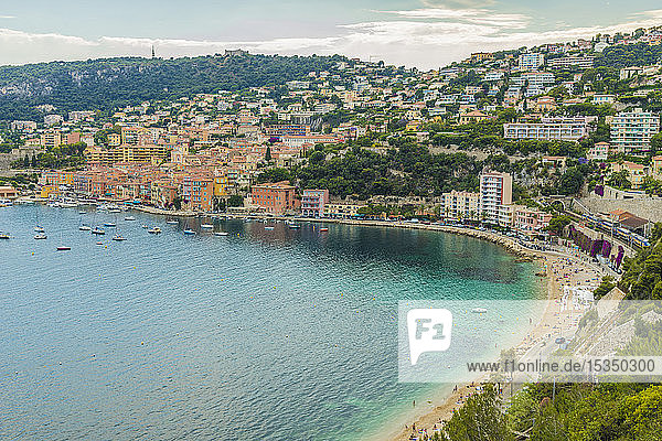 Elevated view over Villefranche sur Mer  Alpes Maritimes  Provence Alpes Cote d'Azur  French Riviera  France  Mediterranean  Europe