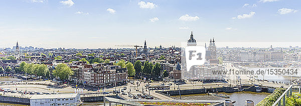 High angle view of central Amsterdam  North Holland  The Netherlands  Europe