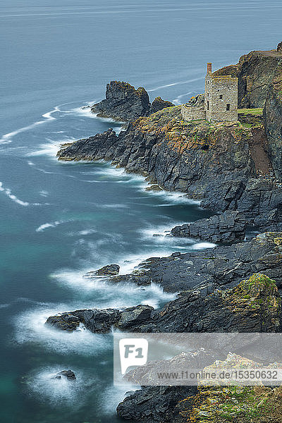 Clifftop engine house from an abandoned tin mine on the Cornish cliffs  Botallack  Cornwall  England  United Kingdom  Europe