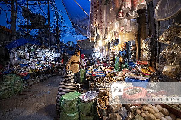 Busy market streets in the old part of Kathmandu called Ason  Kathmandu  Nepal  Asia