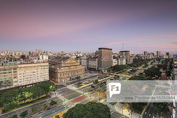 Teatro Colon at sunrise on 9 de Julio Avenue  Buenos Aires  Argentina  South America