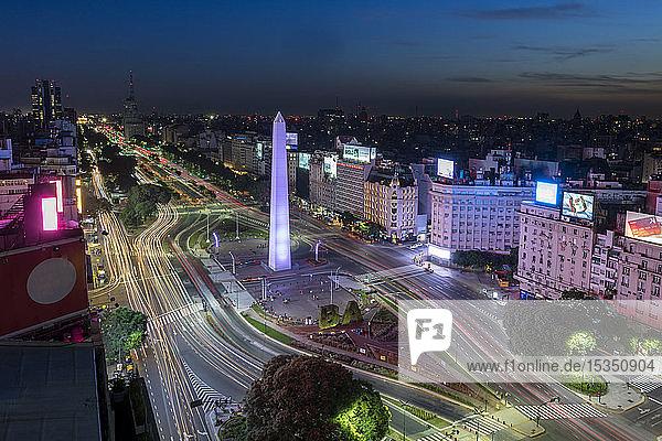 Obelisco on 9 de Julio Avenue at night  Buenos Aires  Argentina  South America