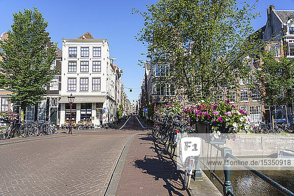 A bridge over Herengracht canal  Amsterdam  North Holland  The Netherlands  Europe