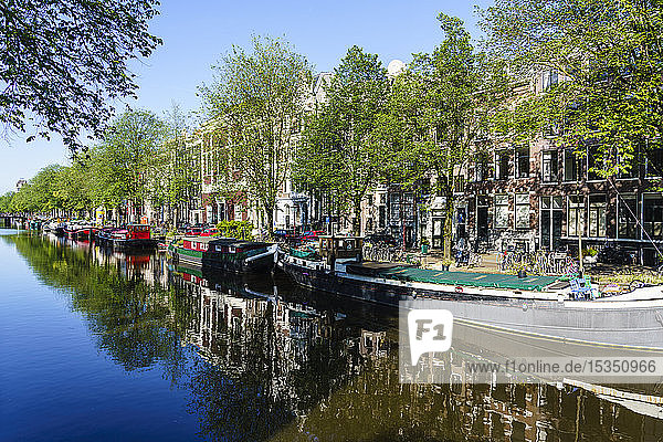 Old gabled buildings reflecting in a canal  Amsterdam  North Holland  The Netherlands  Europe