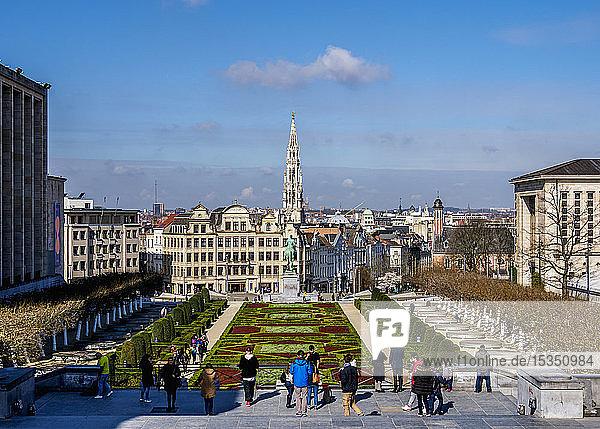 View over Mont des Arts Public Garden towards Town Hall Spire  Brussels  Belgium  Europe