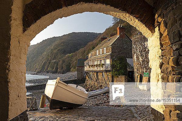 Clovelly harbour through archway  Clovelly  Devon  England  United Kingdom  Europe