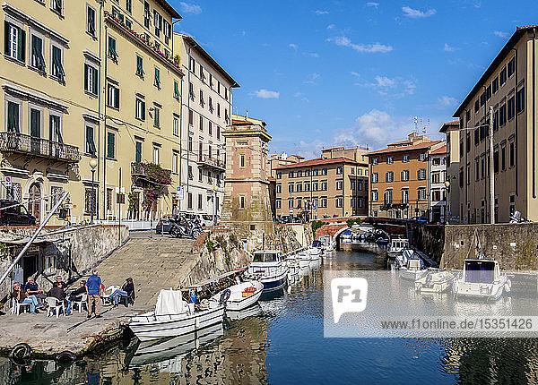 Canal in Venezia Nuova  Livorno  Tuscany  Italy  Europe