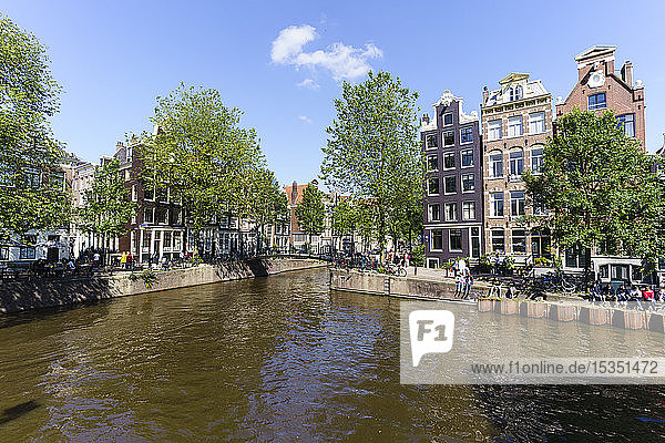 Old gabled buildings on Brouwersgracht  Amsterdam  North Holland  The Netherlands  Europe