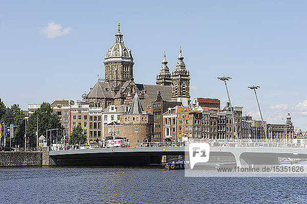 City view with St. Nicholas Church  Amsterdam  North Holland  The Netherlands  Europe