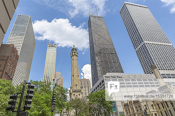 View of The Water Tower and John Hancock Tower on Michigan Avenue  Chicago  Illinois  United States of America  North America