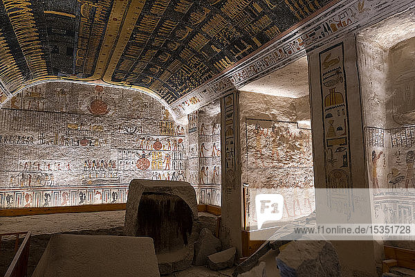 Colorful hieroglyphics and mural paintings in Egyptian Pharaoh Ramses burial chamber in tomb in The Vallery of the Kings  Thebes  UNESCO World Heritage Site  Egypt  North Africa  Africa