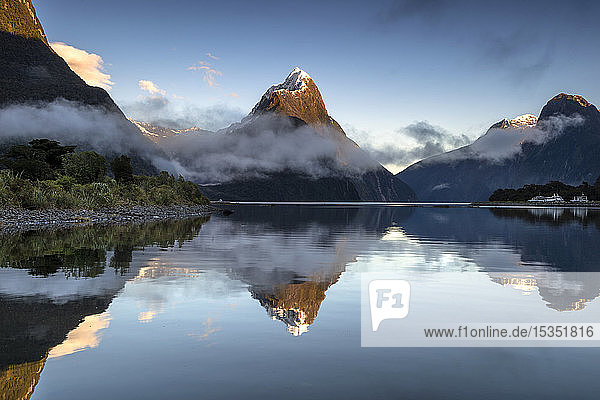 Mitre Peak reflected at Milford Sound  Fiordland National Park  UNESCO World Heritage Site  South Island  New Zealand  Pacific