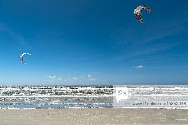 Germany  Schleswig-Holstein  Sankt Peter-Ording  kitesurfers in the North Sea
