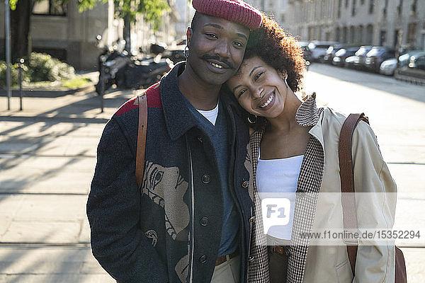 Portrait of loving couple in street  Milan  Italy
