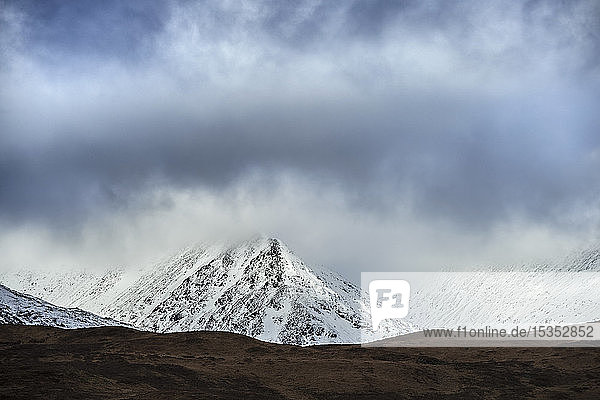 Snow capped mountains in distance  Scottish Borders  United Kingdom