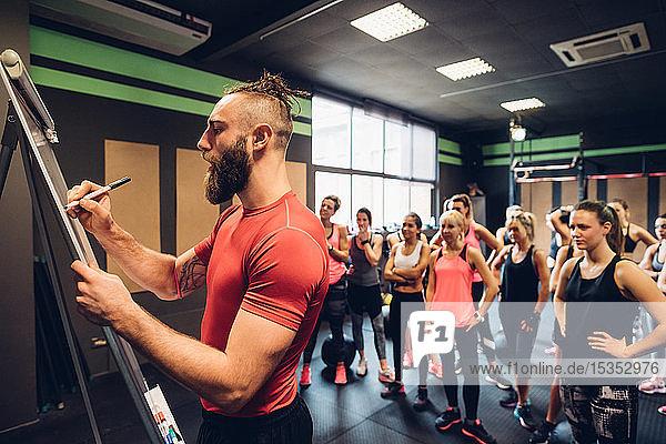 Eine Gruppe von Frauen trainiert im Fitnessstudio und beobachtet  wie ein männlicher Trainer auf einem Flipchart schreibt