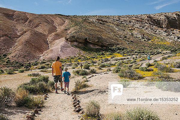 Vater und Kinder erkunden Naturschutzgebiet  Red Rock Canyon  Cantil  Kalifornien  Vereinigte Staaten