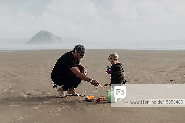 Father and toddler playing with sand on beach  Morro Bay  California  United States