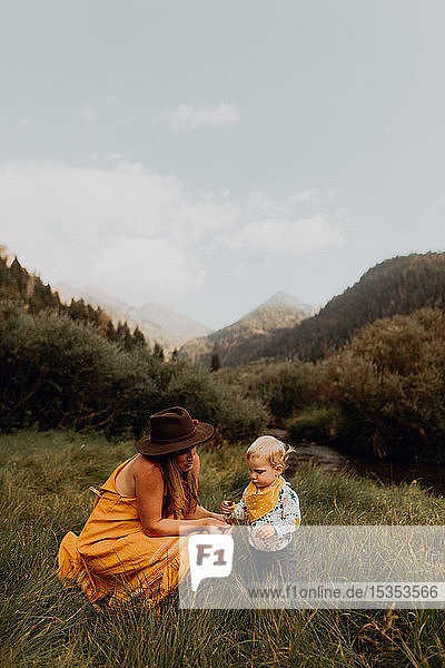 Mother looking at wildflower with toddler daughter in rural valley  Mineral King  California  USA