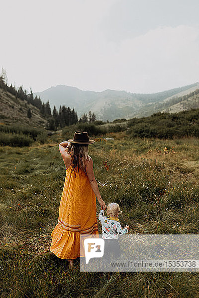 Mother holding toddler daughter's hand in rural valley  rear view  Mineral King  California  USA