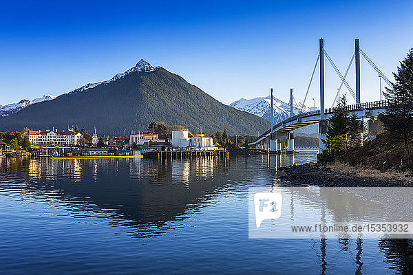 John O'Connell bridge and the town of Sitka in winter; Sitka  Alaska  United States of America