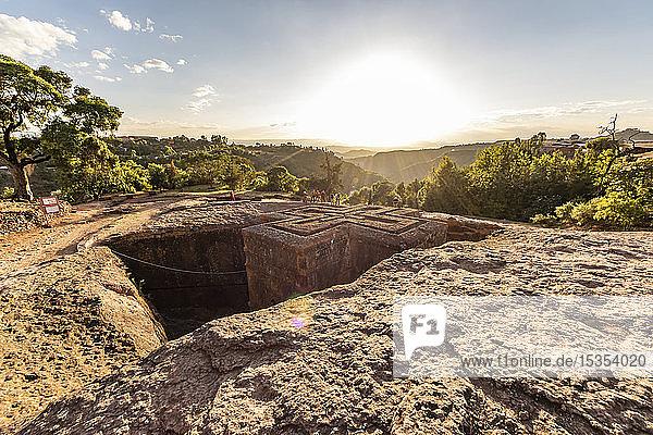 Biete Ghiorgis (House of Saint George) Ethiopian Orthodox underground monolith rock-cut church in the Northern Group of the Rock-Hewn Churches; Lalibela  Amhara Region  Ethiopia