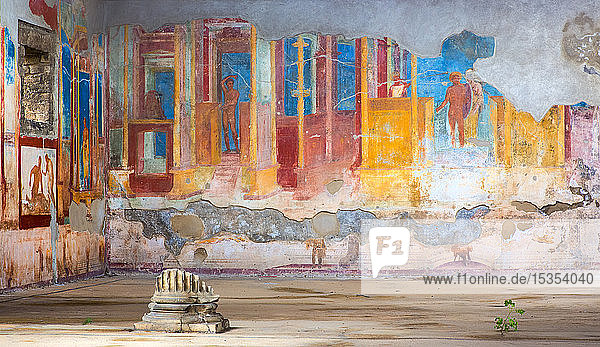 Colourful artwork in peeling layers on walls; Pompeii  Italy