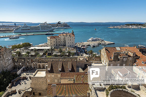 View from the top of St Domnius Bell Tower on the Peristyle of Diocletian's Palace; Split,  Croatia