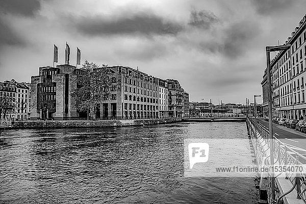 Black and white of residential buildings along the water of Lake Geneva; Geneva  Geneva  Switzerland
