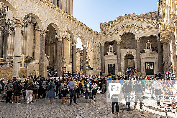 Tourists in the Peristyle of Diocletian's Palace; Split  Croatia