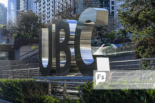 Sign for UBC  on the University of British Columbia campus; Vancouver  British Columbia  Canada