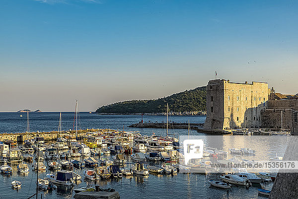 View of St John Fortress and the Old City of Dubrovnik; Dubrovnik-Neretva County  Croatia