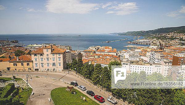 View of the Adriatic Sea from a rooftop; Trieste  Friuli Venezia Giulia  Italy