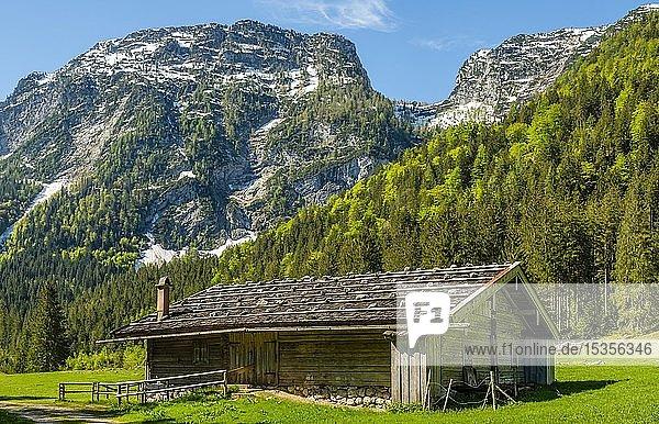 Almhütte unterhalb des Eisberg  Reiteralpe  Berchtesgadener Alpen  Ramsau  Berchtesgadener Land  Bayern  Deutschland  Europa