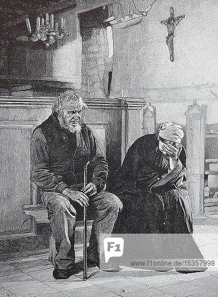 In tiefer Trauer  zwei trauernde alte Menschen in der Kirche  1880  historischer Holzschnitt  Deutschland  Europa