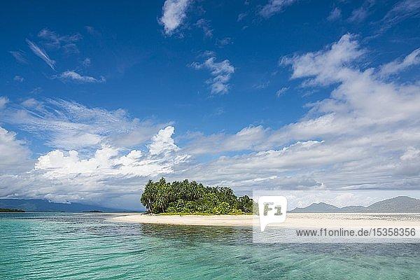 Türkisfarbenes Wasser und weißer Sandstrand  Weiße Insel  Buka  Bougainville  Papua Neuguinea