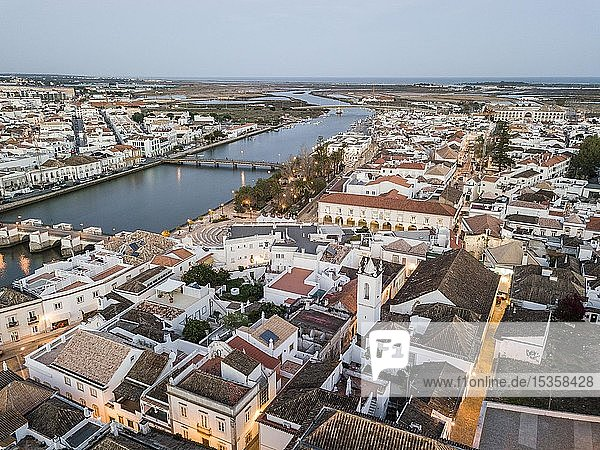 Aerial view  city view with Roman bridge at dusk  Tavira  Algarve  Portugal  Europe