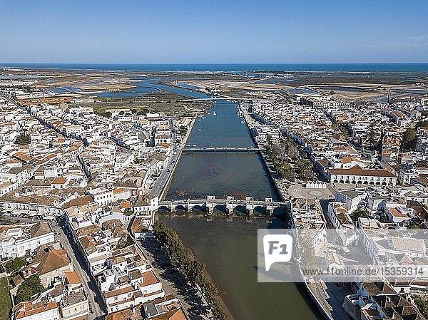 Aerial view  city view with Roman bridge  Tavira  Algarve  Portugal  Europe
