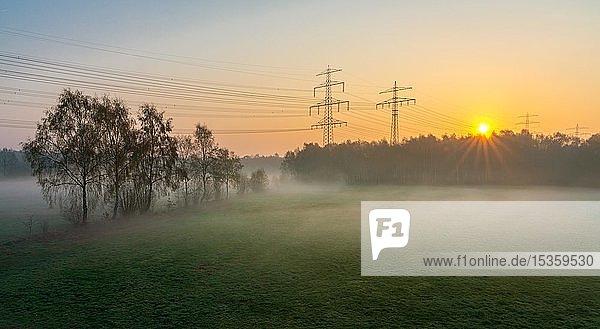 Sonnenaufgang im Morgennebel  Kulturlandschaft mit Strommasten  Norderstedt  Schleswig-Holstein  Deutschland  Europa