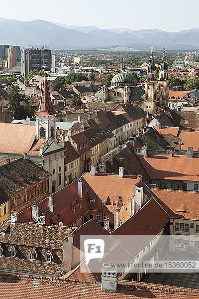 View of the old town from the tower of the parish church  Sibiu  Romania  Europe