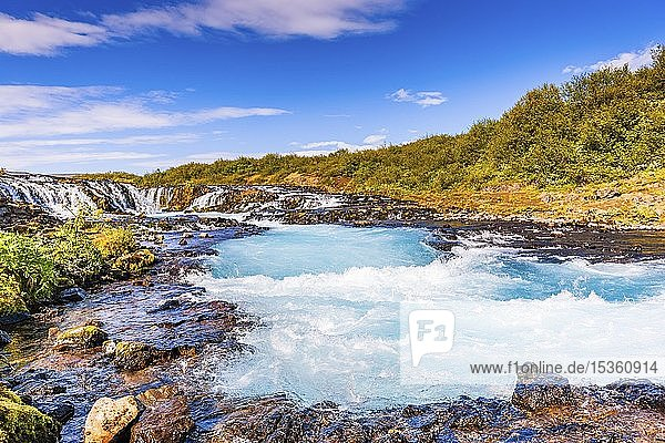 Bruarfoss Waterfall in summer  South Iceland  Iceland  Europe