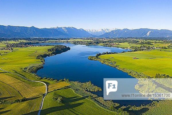 Riegsee mit Alpenkette  Das Blaue Land  Oberbayern  Bayern  Deutschland  Europa