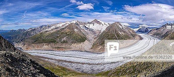 Der Große Aletschgletscher  Kanton Wallis  Schweiz  Europa