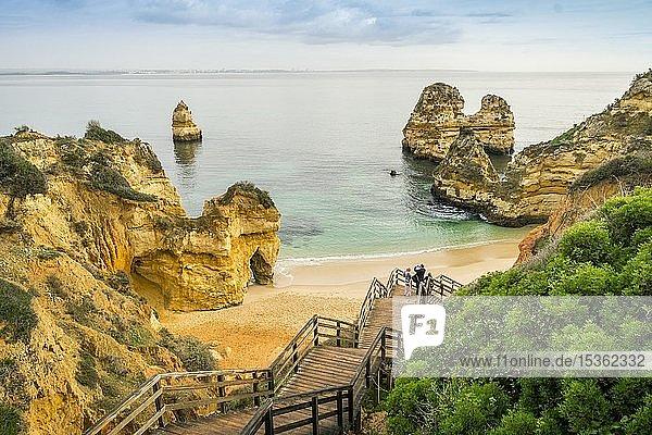 Camilo Beach with wooden walkway to the sandy beach  Lagos  Algarve  Portugal  Europe
